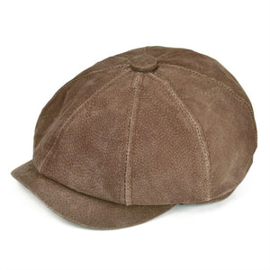 Matte Genuine Leather Newsboy Caps Men Women Suede Pigskin Frosted 8 Panel Hats Autumn Winter Boina Brown Flat Cap 152