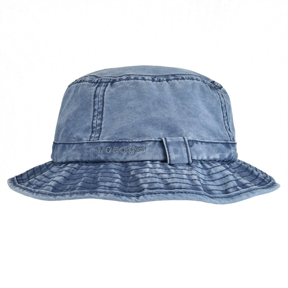 Navy Blue Washed Cot UV Protection Bucket Hat Men Summer Fisherman Hats Travel Japanese Korea Sun Cap 163