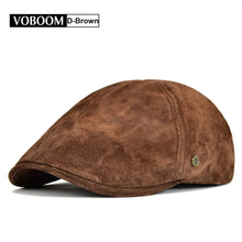 Load image into Gallery viewer, Suede Leather Flat Cap Men Newsboy Caps Frosted Pigskin 6 Panel Gatsby Baker Ivy Hat Fall Winter Boina 159