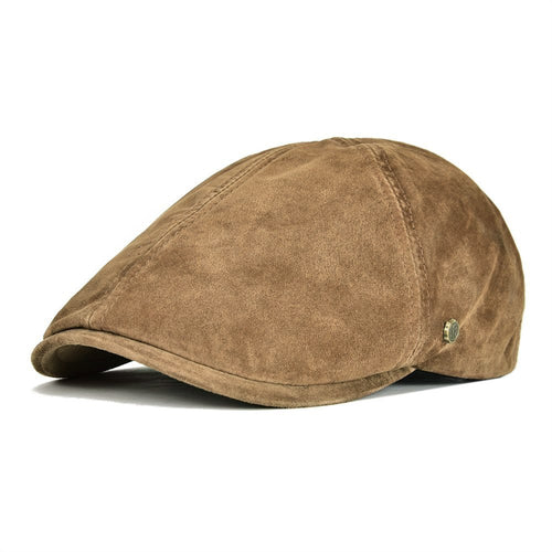 825a0644810 Suede Leather Newsboy Cap Men Women Frosted Nubuck Pigskin 8 Panel Gatsby  Baker Hat with Lining