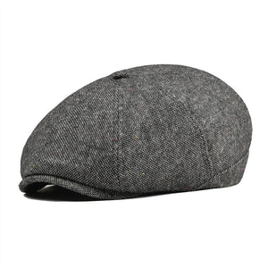 Tweed Woolen Newsboy Cap Women Men 8 Panel Country Baker Boy Ivy Flat Cap Whit Black Dot Beret Hats Boina 111
