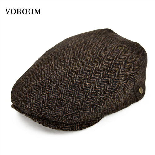 Wo Tweed Herringbone Flat Cap Coffee Brown Black Summer Boina Men Women Berets Ivy Newsboy Hat 133