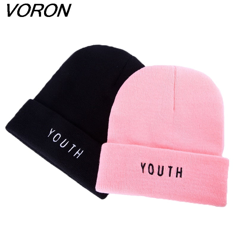 new Women Men Cap Fashion winter Cot warm Caps youth Letter Black Skullies & Beanies Hat Gorros