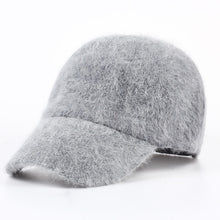 Load image into Gallery viewer, new fashion winter hat candy solid color rabbit fur baseball cap Women's Autumn and Winter cap