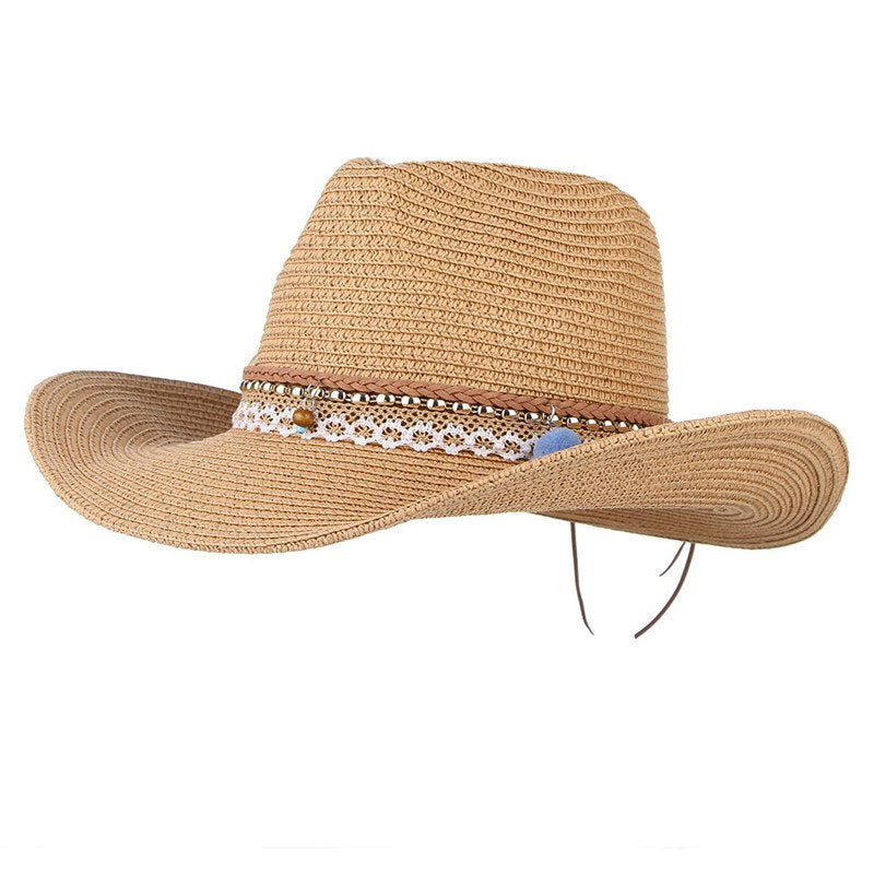 95c10173 Vintage Boho Summer Hats For Women Wide Brim Straw Hat Western