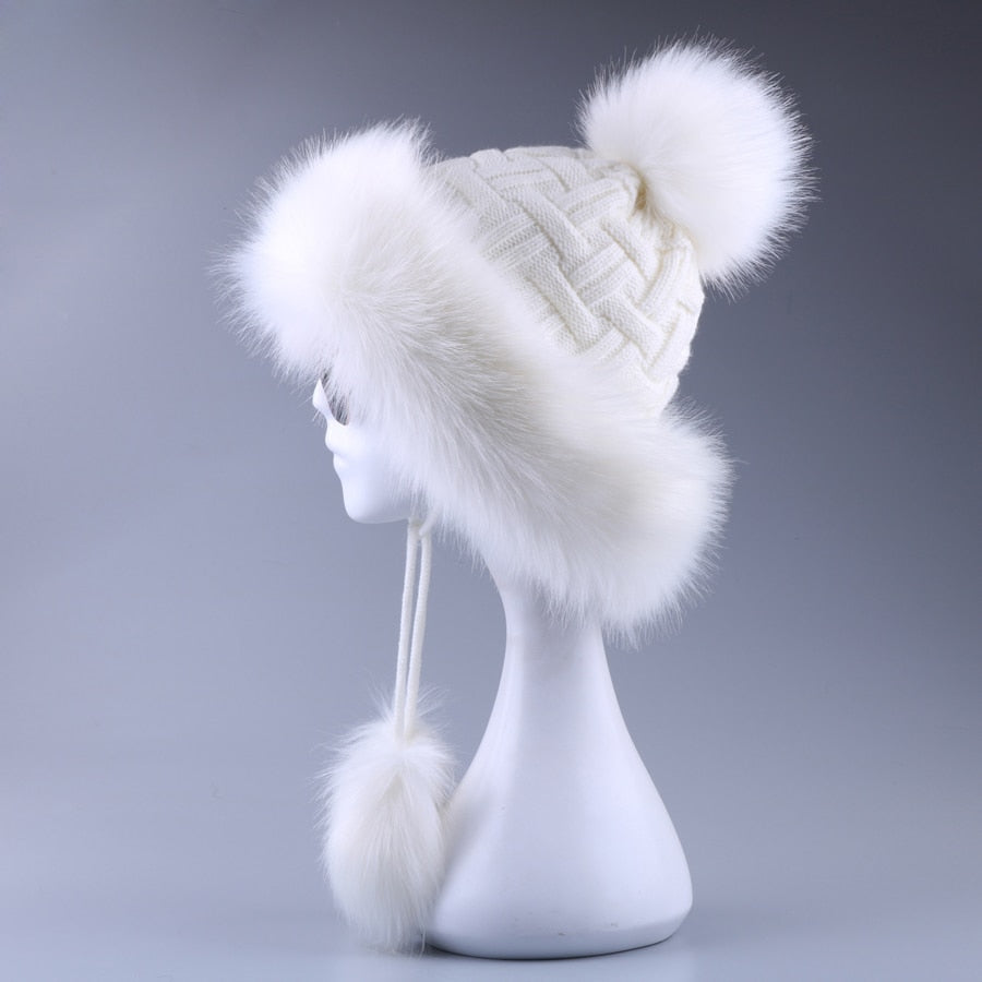 Vintage Faux Fox Fur Bomber Hat Fluffy Pom Pom Women Ushanka Russain Wo Earflap Cossack   Winter Snow Ski Cap Fleece Trapper