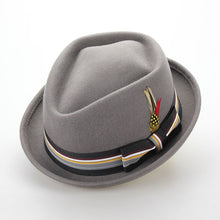 Load image into Gallery viewer, Vintage Pure Wo Felt Men Winter Hat 60CM Big Small Size Floppy Feather Jazz Hat Fashion Flat Strip Bow Male Hat Sombrero Cap