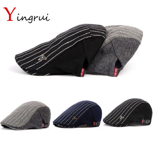 7a046785474 Vintage Striped Newsboy Cap Casquette Casual Peaked Hat Men Winter Woolen  Beret Thicken Warm Duckbill Cap