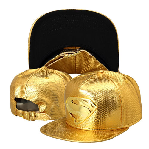 Vogue PU Leather Crocodile Baseball Caps Diamond Gold Rhinestone Superman Snapback Hats men women hip hop DJ rap hat