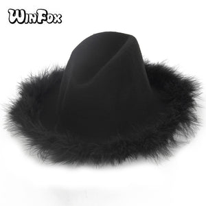 2018 New Luxury Brand Woman Autu Winter 100% Wo Black Grey Color Fedora Hats  With Real Feather Fur Brim 9d1d8fdd07fa