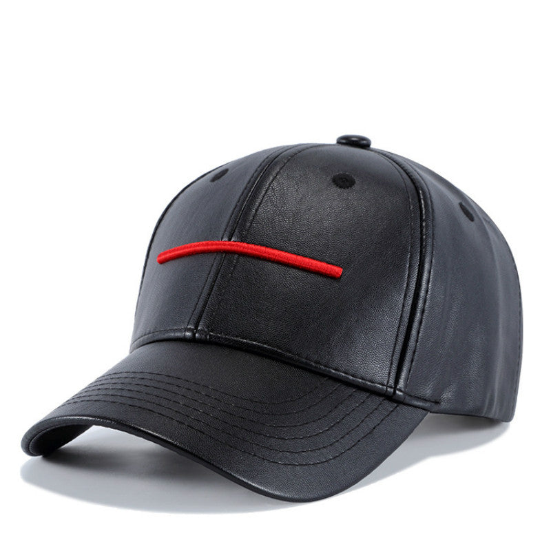 2018 New Fashion High Quality Spring Winter PU Leather Red Stripes Baseball Cap for Men Casual Moto Snapback Hat Men's Hat