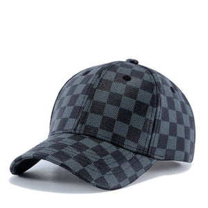 Father Gift Dad Hat Male Outdoors Casual Curved Peaked Sun Hats Men Good Quality PU Leather Plaid Baseball Caps