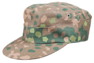 WWII WW2 GERMAN ELITE WAFFEN-SS Field Made DOT44 PEAS CAMO FIELD CAP HAT IN SIZES - World military Store