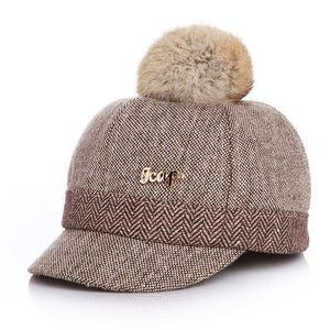 Warm Children Winter Baseball Cap 100% Real Rabbit Hair Ball Sports Golf Hat Kid Winter Pompon Equestrian Cap For Girl Boy