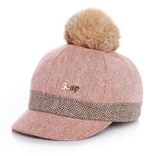 Load image into Gallery viewer, Warm Children Winter Baseball Cap 100% Real Rabbit Hair Ball Sports Golf Hat Kid Winter Pompon Equestrian Cap For Girl Boy