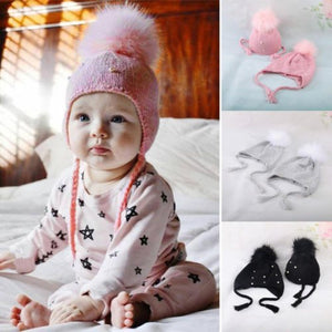 2d2d3e52e9d Warm Winter Newborn Toddler Baby Boys Girls Kids Pearl Faux Fur Pom Bobble  Strap Knit Beanie