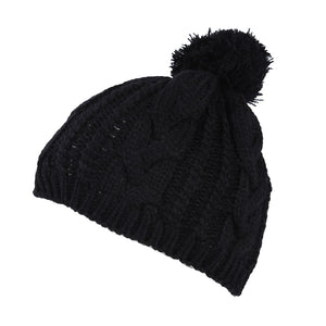 Warm Winter Unisex Men Women Crochet Knit Bobble Beanie Baggy Hat Cap - Black