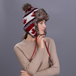 69c58fd79d107 Warm Women Winter Hat with Ear Flaps Snow Ski Thick Knit Wo Beanie Cap Hat  high