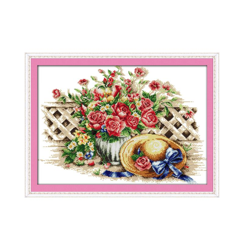 Warm roses hat cross stitch kit DIY needle. Line. Embroidered cloth. Drawing a full set of materials package embroidery