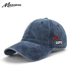 0c958b4f Washed Baseball Caps Women Solid Color Dad Hat Men Bad Hair Day OOPS Letter  Embroidery Couple