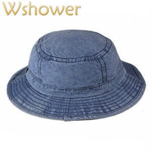 Washed Denim Bucket Hat Hip Hop Casual Wide Brim Summer Hat For Women Solid  Men Sun 54474b34cae