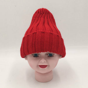 baby girl boy knitted beanie red white black bobble children winter hat warm ear flap skullies kids cap