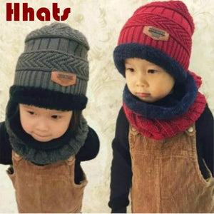 family winter hat scarf set thick warm fleece lining knitted beanie ring  set children girl boy e158fd3befd
