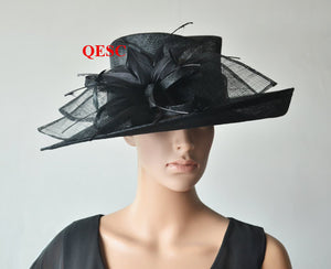 Wholesale NEW 6 colours Black Big  wide brim Dress Church Sinamay Hats with feather flowers for races,wedding,Kentucky derb