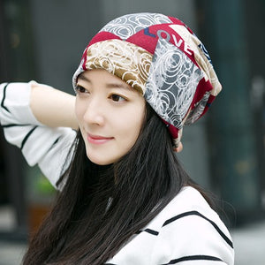 Wholesale Women Brand Winter Hats New Printing Design Letter Beauty Beanie Gorro Patch Caps Bonnet Millinery Scarf 3 Usage