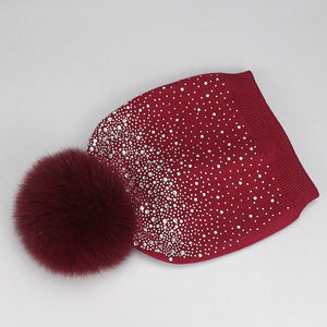 Wholesale Women Wo Diamond Winter Hat With Fox Mink Pompom Luxury Rhinestone Skullies Girl Beauty Beanies Woman Casual Gorros