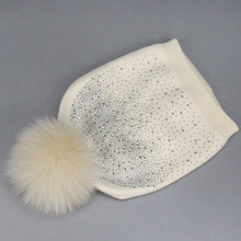 Load image into Gallery viewer, Wholesale Women Wo Diamond Winter Hat With Fox Mink Pompom Luxury Rhinestone Skullies Girl Beauty Beanies Woman Casual Gorros