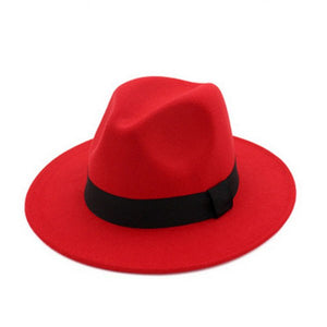 10d204a885c Wide Brim Autu Female Fashion Top hat Jazz Cap Winter Fedora Hat artificial  wo felt Caps