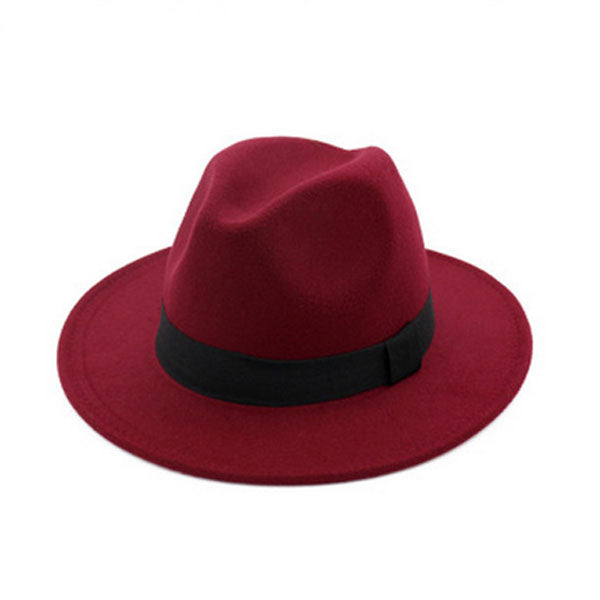 f8764780b4d Wide Brim Autu Female Fashion Top hat Jazz Cap Winter Fedora Hat ...