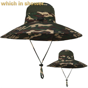 Wide Brim Camouflage Fishing Cap With String Breathable Camo Bucket Hat Large Brim Men Fisherman Hat Cap Outdoor Beach Panama