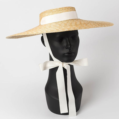 Wide Brim Straw Hat with Ribbon Tie Boater Hat for Women  Summer Beach Sun Hats Vintage UV Protection 681073