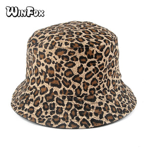 9aecdae7679 2018 Fashion Spring Summer Reversible Leopard Bucket Hats Poliester Gorro  Pescador Fisherman Hats For Mens Womens