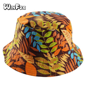 3ca1db19489b33 2018 New Double Side Hip Hop Leaf Bucket Hats for Women and Men Panama Bucket  Cap Sun Fisherman Outdoor Travel Boonie Hat