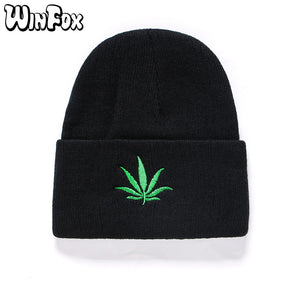 bb8bc41bfd9a8 2018 New Winter Hip Hop Punk Green Leaf Black Beanies Hats Skullies For Women  Mens