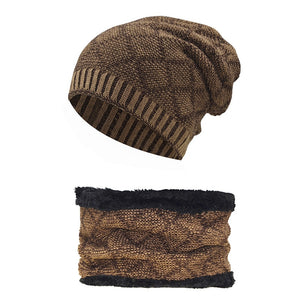 Fashion Black Red Plaid Men Winter Hat Scarf Sets Beanies Male Warm Thick  Wo Knitted Collar 06cc6b5a0564