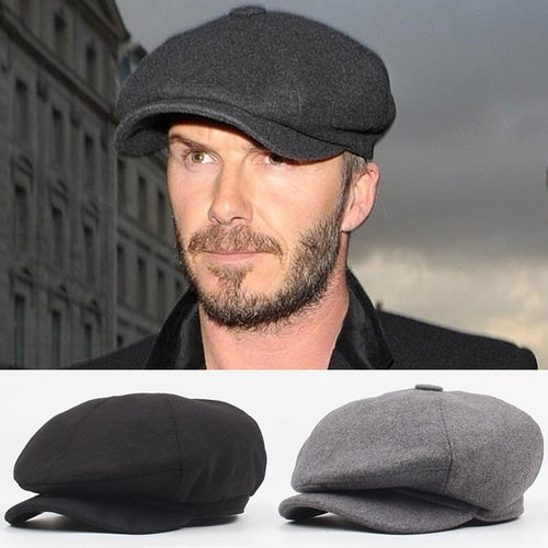 Winter Autu Retro Vintage Black Grey Boina Keep Warm Men Beret Cap Wo Blend Tweed Newsboy Flat Ivy Cabbie Hat