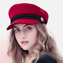 Load image into Gallery viewer, Winter Baseball Cap Women French Style Wool Baker's Boy Hat Cap Cool Hats Womens Baseball Hats Black Visor Hat 2019 Casquette