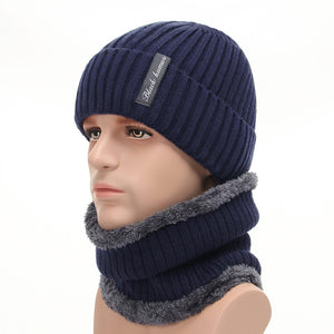 Winter Beanies Men Scarf Knitted Hat Caps Mask Gorras Bonnet Baggy Warm Hats  For Men Women Fleece Lined Thick Skullies Beanies b5792031e3c4