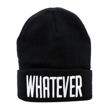 Load image into Gallery viewer, Winter Black Whatever Beanie Hat And Snapback Men And Women Cap Winter Warm Unisex Knit Ski Cap Hat Men Women Accessories