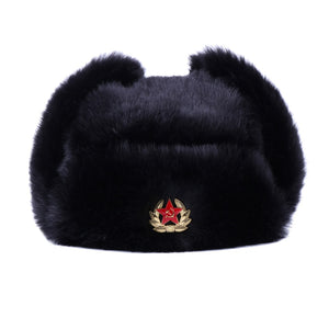 a1b4d759cc2 Winter Bomber Hat Unisex Russian Ushanka With Badge Dad Earflap Hats Faux  Rabbit Fur Soldier Army Aviator Trapper Snow Ski Cap