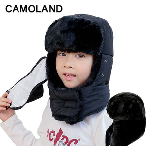 3fe4384487c60 Winter Bomber Hats Kids family cap Girls Russian Hat earflap snow Balaclava  Warm Face Mask boys Snow cap Child Outdoor Soviets