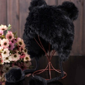 Winter Cap Women Rabbit Fur Pompom Hat Soft Knitted Beanie Hat Ears Kids Earflaps Caps Skullies Beanies Warm Caps Cute Girl Hats
