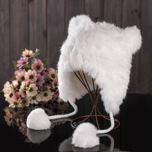 Load image into Gallery viewer, Winter Cap Women Rabbit Fur Pompom Hat Soft Knitted Beanie Hat Ears Kids Earflaps Caps Skullies Beanies Warm Caps Cute Girl Hats
