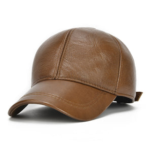 b89bfe53487 Winter Genuine Leather Baseball Cap For Man Male with Ear Flaps Classic  Brand New Black Brown Gorras Dad Fashion Free Shipping