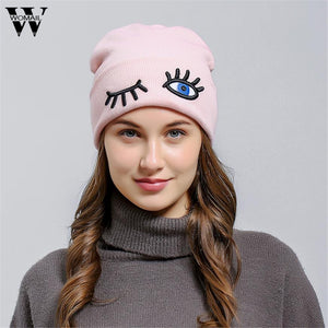 646b4acc67c Winter Hat For Women Skullies Beanies Women Cotton Elasticity Warm Knit  Beanies Hat Pink Color Christmas gift