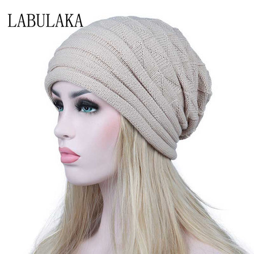 Winter Hats for Women Knit Warm Cap Slouchy Skullies Beanies Ladies Hats Female Thick Geometric Print Baggy Caps Fashion Bonnet